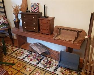 Filk art miniature chests, wall shelf, pillows, sleds