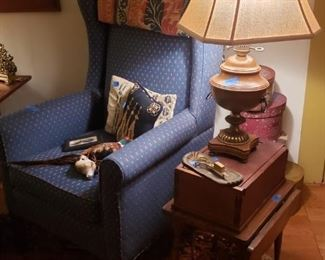 Wing chair, one of two