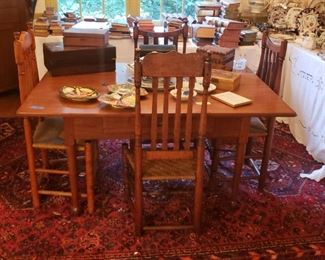 Dining table and chairs, late 1800s, early 1900s