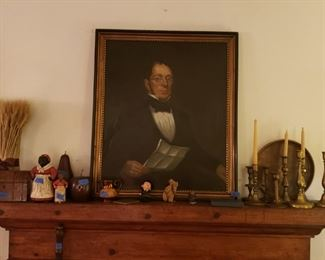 Oil portrait, brass candlesticks, aunt jemimas, inlaid box, and more