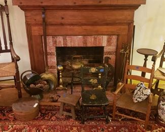 Coal scuttle, andirons, pedestal, stools, and boxes