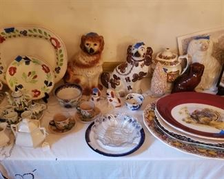 Gaudy Dutch and Gaudy Welsh; Turkey platters; Staffordshire Dogs