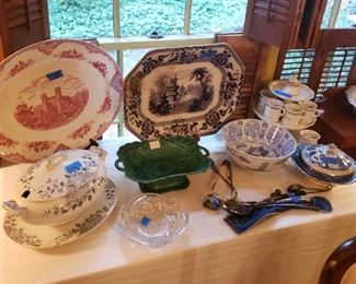 Transferware platters, English, of various ages; English tureen, cut glass; blue willow; silverplated serving pieces