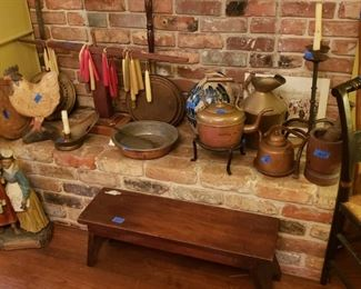 Copper tea kettles; candlestand, bench; chalkware figures