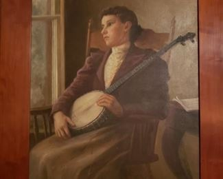 Banjo player, oil on canvas, late 19th or early 20th century