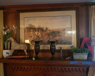 Pull toy horse, metal urns. Bird houses. Framed art