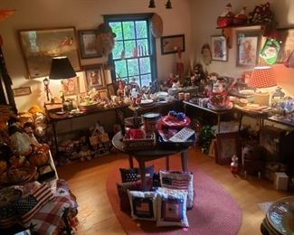 Holiday room with decorations for every occasion--some antique, some vintage, some newer