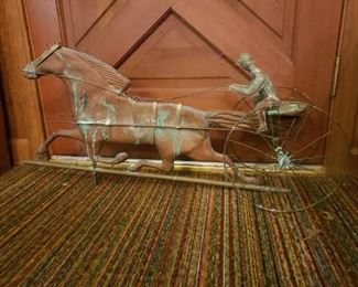 Trotting horse weather vane, we have the directionals on which this can be mounted