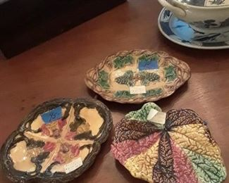 3 early majolica plates, one is Etruscan majolica