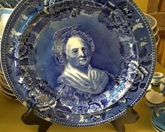 Martha Washington blue transferware plate