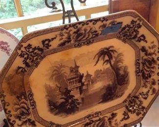 Gray transfer stoneware platter