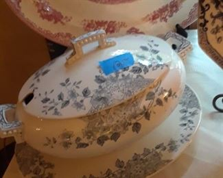 Beautiful blue decorated tureen with underplate