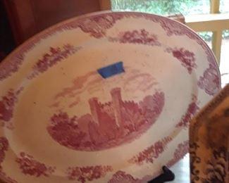 Red transferware platter, Castles