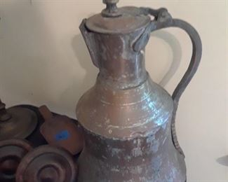 Copper flagon, wood tie backs