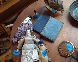 China head dolls, miniature books