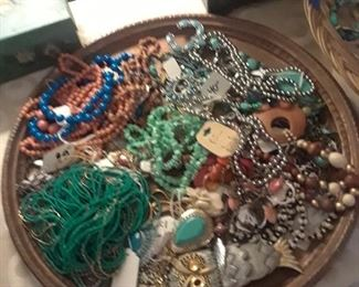 Lots of necklaces, many vintage