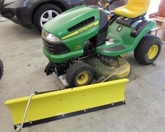 JOHN DEERE LAWN MOWER WITH SNOW PLOW ATTACMENT