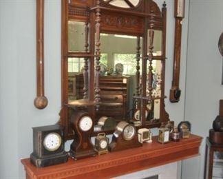 Antique stick barometers - mantle clocks - Walnut Etergere