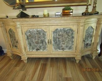 INCREDIBLE CREDENZA, TV CABINET WITH ADJUSTABLE SHELVES INSIDE.. STORAGE ON THE SIDES.. OR TV ON TOP AND THEN CONTROLS INSIDE.. MARBLE TOP