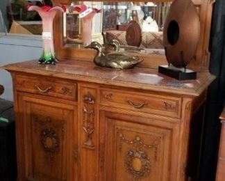 Antique marble top side board Was $2495 Now $1000