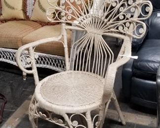Vintage Peacock wicker  fan back chair Was $295 now $150