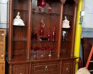 Massive 2 piece lighted ornate brass molding lighted china cabinet & hutch WAS $995 Now $500
