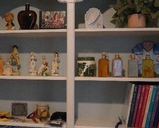 figurines, books, decor
