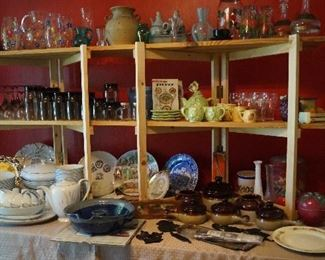 dishes, china, stoneware, pottery, pitchers with glasses