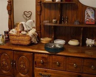 dresser, scissors, doilies, handkerchiefs