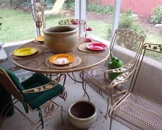 Metal Patio Set - table & 4 Chairs, misc.- in the Patio Room