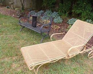 metal Lounge Chair, green Bench