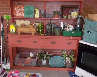 painted Cabinet/Shelf with lots and lots of misc. - in the Patio room
