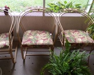 metal Patio Chairs w/seats, potted Fern's - in the Patio Room