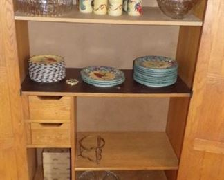 cabinet, misc dishes  (some Lenox Christmas dishes & Mugs)