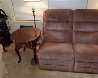 double Recliner, end Table, Hoover Wind Tunnel Vacuum,  Floor Lamp