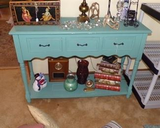 green Cabinet/Shelf, Vases, large black Oriental Box, Books on bottom are Boxes, misc