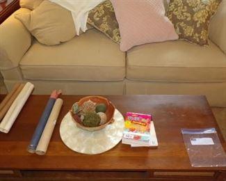 Sofa, throw Pillows, Coffee Table, misc.