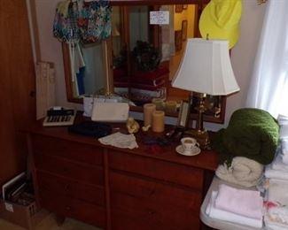 Dresser, Mirror, Lamp, Linens, Purses, misc