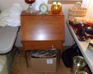Small Desk, Clock, Lamp, Glassware, Linens, misc