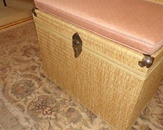 wicker Trunk with Cushion, Rug