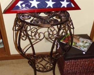 Metal  occasional Table, American Flag in Box, the other Wicker storage Foot Stool