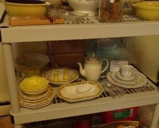 misc. Dishes, Soup Bowl. Pitcher's, Pyrex, Rolling Pin, misc.