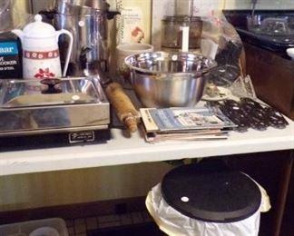 Pitcher, Baking Sheet, Flip top Trash Can, Alum Bowl, Food Processor, large Coffee Pot, misc.