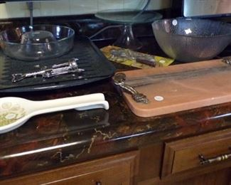 Spoon Rest, Pyrex Jello Mold Ring, Cake Plate, Bowl, Marble double handle cutting  Slab (Heavy)