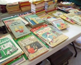 lots of vintage Children's Books - in the Patio Room