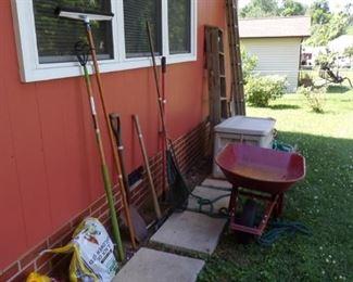 Ladders, Lawn & Garden Tools, Wheelbarrow, misc.