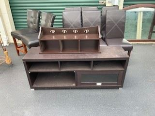 Leather bar height and dining table height chairs, IKEA storage and wall rack
