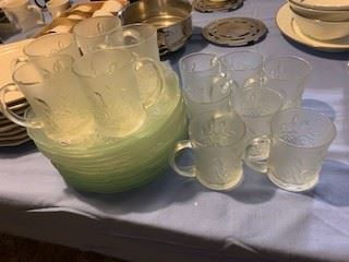 Rose embossed glassware.  Party set for 12.  1980s