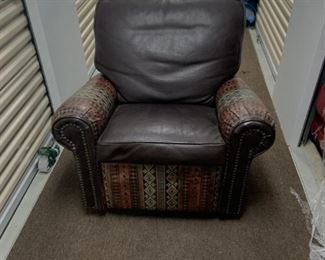 Custom leather chocolate brown pebble leather glider chair with Indian Blanket detail.  Taking offers.