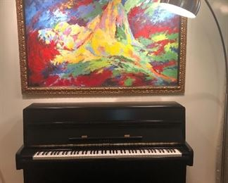 Large framed painting is in the style of LeRoy Neiman's Reclining Nude.  It is not by LeRoy Neiman, Yamaha Piano